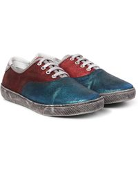 Marc Jacobs - Distressed Metallic Suede Trainers - Lyst