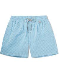 Loro Piana - Bay Mid-length Striped Cotton-blend Seersucker Swim Shorts - Lyst