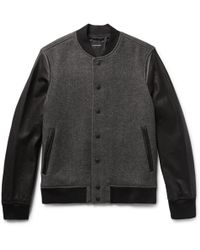 Club Monaco - Wool-blend Twill And Leather Bomber Jacket - Lyst