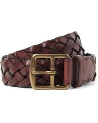 Polo Ralph Lauren - 3cm Brown Woven Leather Belt - Lyst