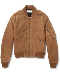 Saint Laurent - Suede Bomber Jacket - Lyst