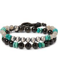 Peyote Bird - Labradorite, Obsidian, Turquoise And Sterling Silver Wrap Bracelet - Lyst