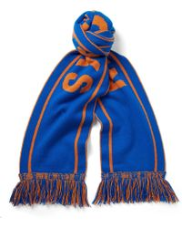 The Elder Statesman - - Nba Knicks Fringed Intarsia Cashmere Scarf - Blue - Lyst