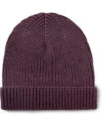 Boglioli - Ribbed Garment-dyed Virgin Wool, Silk And Cashmere-blend Beanie - Lyst