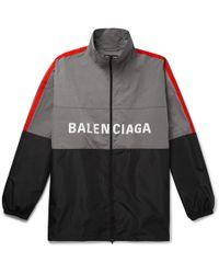 Balenciaga - Oversized Striped Logo-print Ripstop And Shell Jacket - Lyst