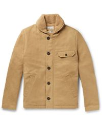 Universal Works - N1 Shawl-collar Faux Shearling-trimmed Cotton-twill Jacket - Lyst