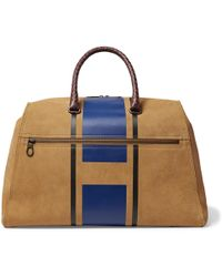Bottega Veneta - Croc-effect Intrecciato Leather-trimmed Printed Suede Holdall - Lyst