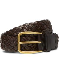 Brunello Cucinelli - 3cm Dark-brown Woven Leather Belt - Lyst