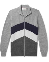 Brunello Cucinelli - Slim-fit Chevron Ribbed Cashmere Zip-up Cardigan - Lyst