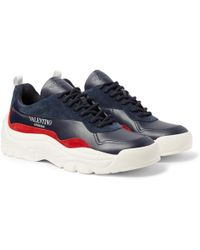 Valentino - Garavani Bansi Leather And Suede Sneakers - Lyst