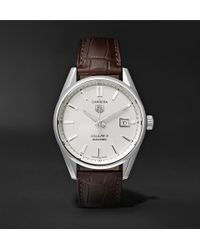 Tag Heuer - Carrera Automatic 39mm Steel And Alligator Watch - Lyst