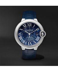 Cartier - Ballon Bleu De Automatic 42mm Steel And Alligator Watch - Lyst