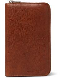 Brunello Cucinelli - Burnished Full-grain Leather Zip-around Wallet - Lyst