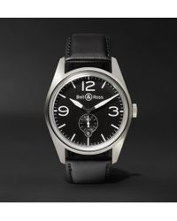 Bell & Ross - Br 123 41mm Steel And Leather Watch - Lyst