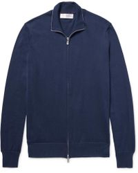 Brunello Cucinelli - Contrast-tipped Cotton Zip-up Cardigan - Lyst