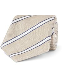 Canali - 8cm Striped Linen And Silk-blend Tie - Lyst