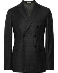 Bottega Veneta - Charcoal Double-breasted Windowpane-checked Wool Suit Jacket - Lyst