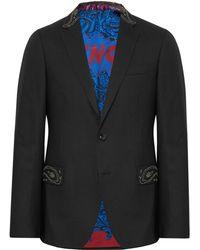 Etro - Black Slim-fit Bead-embellished Wool Tuxedo Jacket - Lyst
