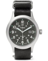 Timex - Allied Stainless Steel And Stonewashed Leather Watch - Lyst