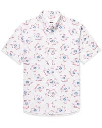 Club Monaco - Button-down Collar Printed Cotton-seersucker Shirt - Lyst