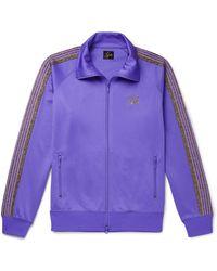 Needles Glittered Webbing-trimmed Tech-jersey Track Jacket - Purple