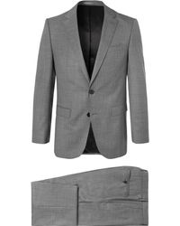 BOSS - Grey Novan/ben Slim-fit Mélange Super 120s Virgin Wool Suit - Lyst