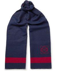 Loewe - Fringed Logo-intarsia Wool And Silk-blend Scarf - Lyst