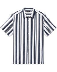 Theory - Irving Striped Cotton And Linen-blend Shirt - Lyst