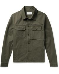 Maison Margiela - Slim-fit Distressed Cotton-twill Overshirt - Lyst