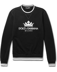 Dolce & Gabbana - Printed Loopback Cotton-blend Jersey Sweatshirt - Lyst