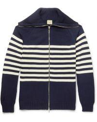 Wooster + Lardini - Striped Cotton Zip-up Cardigan - Lyst