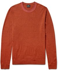 PS by Paul Smith - Contrast-tipped Mélange Merino Wool-blend Sweater - Lyst