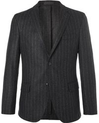 Officine Generale - Grey Slim-fit Pinstriped Wool-flannel Blazer - Lyst