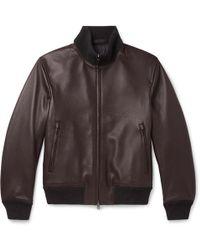 Brioni Slim-fit Full-grain Leather Bomber Jacket - Brown
