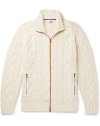 Brunello Cucinelli - Cable-knit Cashmere Zip-up Cardigan - Lyst