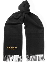 Burberry - Logo-embroidered Fringed Cashmere Scarf - Lyst