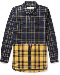 Off-White c/o Virgil Abloh - Embroidered Checked Cotton-blend Twill Overshirt - Lyst