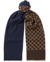Gucci - Logo-intarsia Wool And Silk-blend Scarf - Lyst