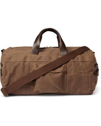 J.Crew - Abingdon Leather-trimmed Waxed Cotton-canvas Holdall - Lyst