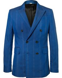 Stella McCartney - Cobalt Slim-fit Double-breasted Pinstriped Linen-blend Suit Jacket - Lyst