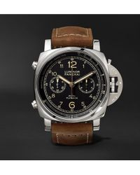 Officine Panerai - Luminor 1950 Pcyc 3 Days Chrono Flyback Automatic Acciaio 44mm Stainless Steel And Assolutamente Leather Watch - Lyst