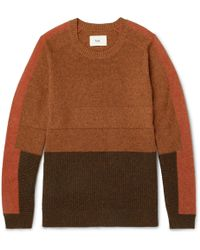 Folk | Panelled Wool And Cotton-blend Sweater | Lyst