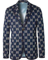 Gucci - Navy Logo-jacquard Cotton Blazer - Lyst