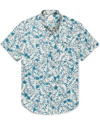 J.Crew | Slim-fit Button-down Collar Floral-print Slub Cotton Shirt | Lyst