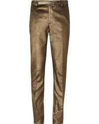 Saint Laurent - Slim-fit Metallic Cotton Trousers - Lyst
