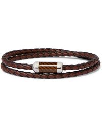 Tateossian - Monte Carlo Braided Leather And Sterling Silver Bracelet - Lyst