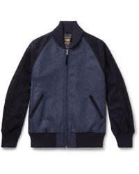 Golden Bear - The Griffith Wool-tweed And Suede Bomber Jacket - Lyst