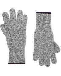 Brunello Cucinelli - Contrast-tipped Mélange Virgin Wool-blend Gloves - Lyst