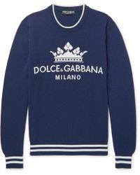 Dolce & Gabbana - Logo-intarsia Cashmere Jumper - Lyst