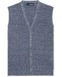 Lardini - Ribbed Mélange Cotton And Linen-blend Vest - Lyst